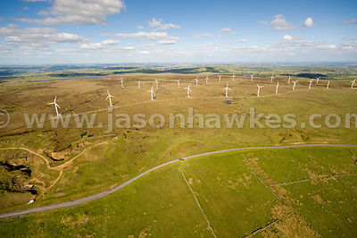 Aerial view of Ovenden Wind farm, Oxenhope, West Yorkshire