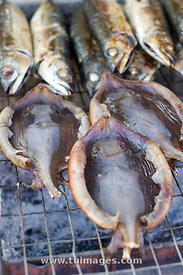 grilled seafood, stingray and fish
