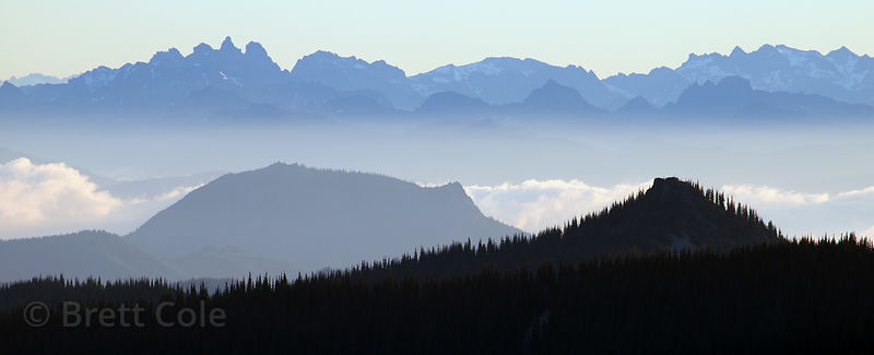 Fog over the ridges of the Cascades from Sourdough Ridge, Mount Rainier National Park, Washington