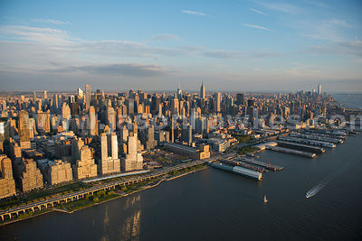 Aerial view of Upper West Side Manhattan, with the Empire State Buildng visible in the background