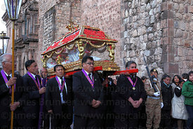 Santo Sepulcro / Crucified Christ outside La Merced church during Good Friday procession , Cusco , Peru