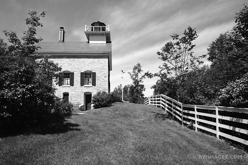 POTTAWATOMIE LIGHTHOUSE ROCK ISLAND STATE PARK DOOR COUNTY WISCONSIN BLACK AND WHITE
