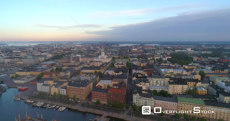 Sunrise Cityscape, Aerial Sideway View of Kruununhaka Area and  the Helsinki Cathedral, in Helsingfors City, on a Sunny Summer Morning Dawn, in Helsinki, Uusimaa, Finland