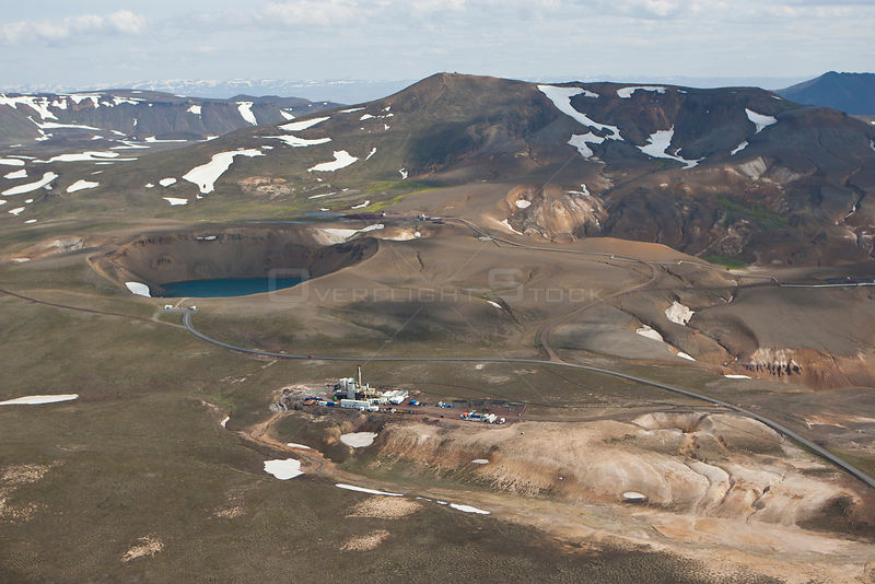 Aerial of geothermal energy plant, Iceland, June 2009.