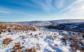 Remote moorland of Edmondbyers Common in winter. England, UK.