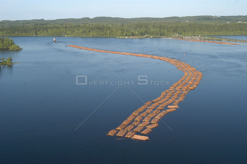 Floating log train harvest, Joensuu, Finland July 2004
