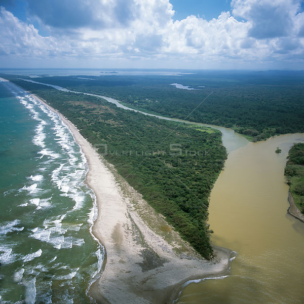 Aerial view of Mosquitio coast (NE Caribbean coast) of Honduras, Central America 2006