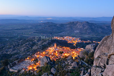 The medieval and historic village of Monsanto at dusk. Portugal