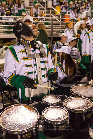 Iowa City West High Marching Band member Cameron Braberman, a sophomore  performs between quarters during the Battle for the Boot at Iowa City West Friday night, October 5, 2012. (Justin Torner/Freelance)