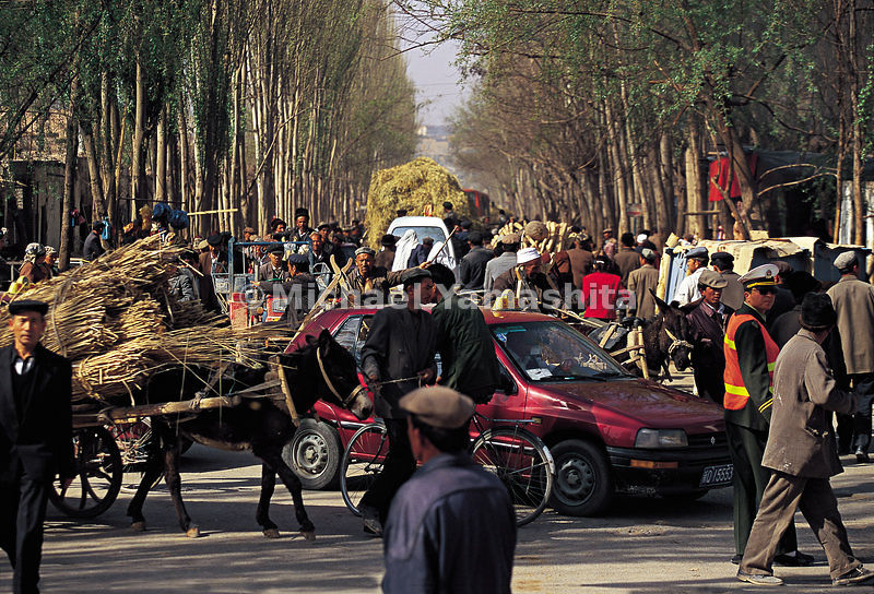 Every Sunday, thousands of people converge on Kashgar for the market. Xinjiang, China.