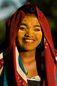 Girl with traditionally painted face from the Sakalava tribe, Nosy Be, Madagascar