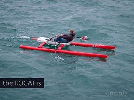 prototype #3 ROCAT rowing catamaran at sea
