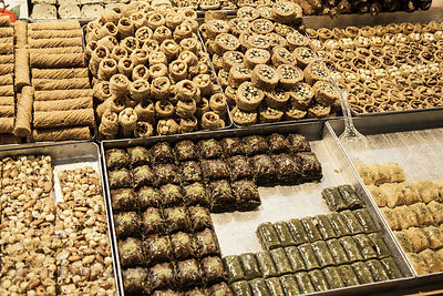 Baklava and sweet pastries for sale in the spice market, Istanbul