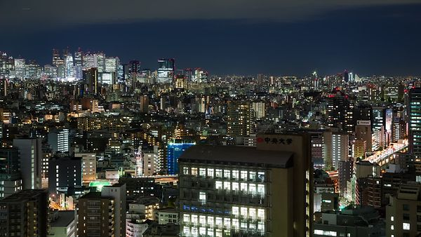 Bird's Eye: Shinjuku Skyline Behind Sprawling Mid-Rises & Highways