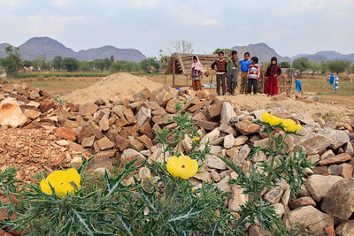 Children on a flower farm, Amba village, Rajasthan, India