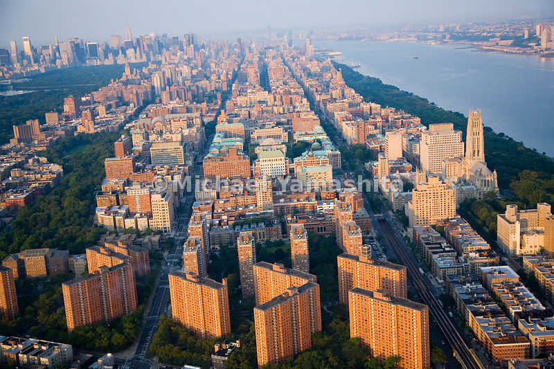 An aerial view of the Morningside Heights neighborhood.  Manhattan, New York City.
