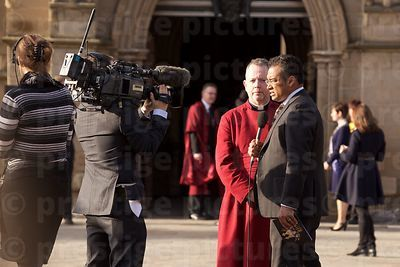David Monteith Dean of Leicester Cathedral Waiting to be Interviewed by Channel Four TV