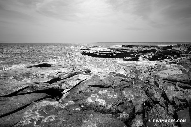 ATLANTIC OCEAN CAPE NEDDICK MAINE COAST BLACK AND WHITE SEACOAST LANDSCAPE