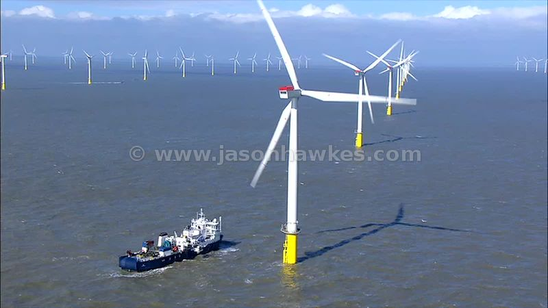 Aerial footage of boat at Kentish Flats wind farm