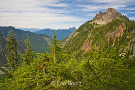 Mt. Forgotten viewed from a saddle along the Perry Creek–Mt. Forgotten Trail in Mt. Baker-Snoqualmie National Forest, Cascade Mountains, Washington, USA, August, 2008_WA_4562