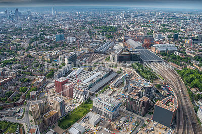 Aerial view of London, Kings Cross Station and St Pancras Station.