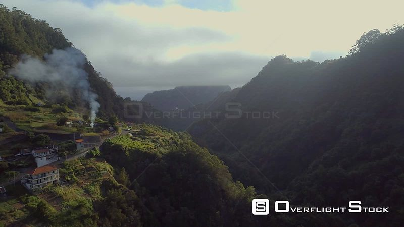Sao Vicente Village Madeira Island Drone Video Portugal