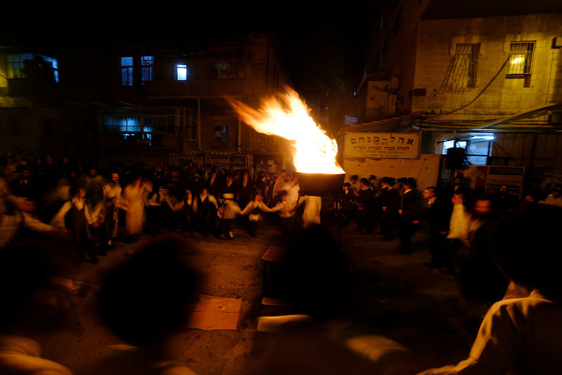 Jewish holiday of Lag Baomer in ultra-orthodox neighborhood of Mea Shearim in Jerusalem