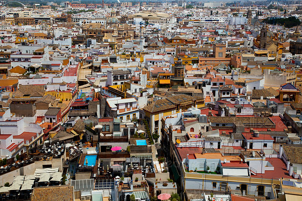 View of rooftop balconies from the tower in Seville, Spain