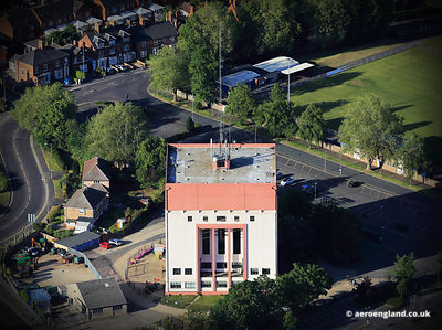 aerial photograph of the Chatterton Water Tower in Spalding Lincolnshire England UK.