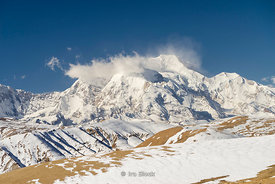 Shishapangma Mountain, the 14th highest mountain in the world at 26,335 feet. (8027 meters). It is the the tallest mountain entirely in Tibet.
