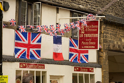 Union Jack Flags on La Tradition Boulangerie in Chipping Campden