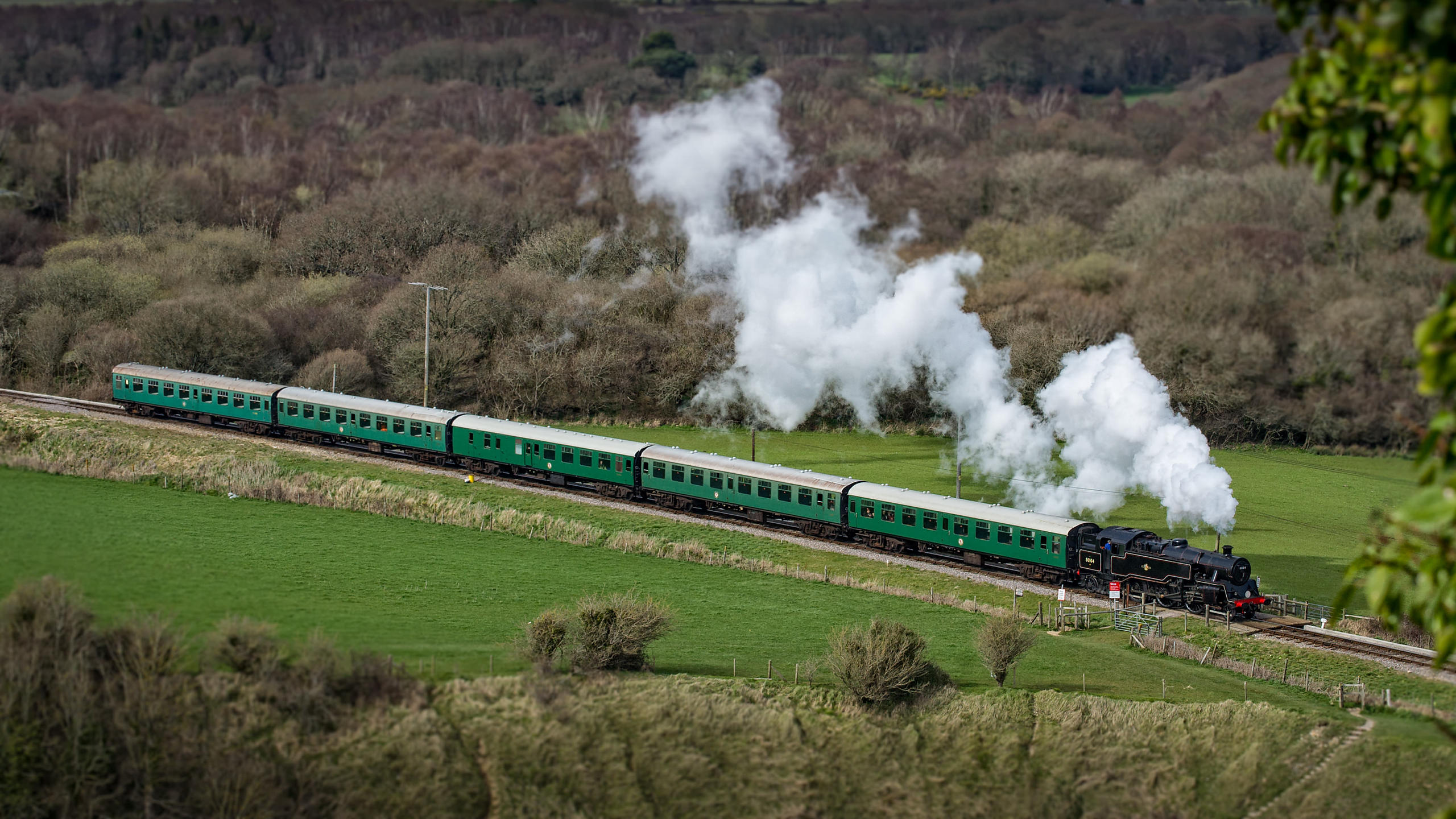 Aerial View of Swanage Railway Steam Train with classic steam Pattern