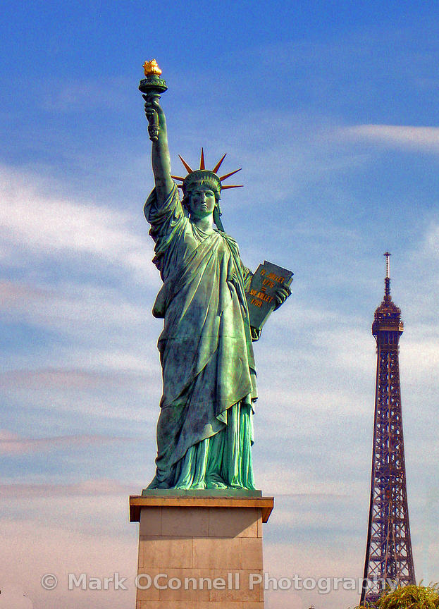 Eiffel Tower and Statue of Liberty Paris
