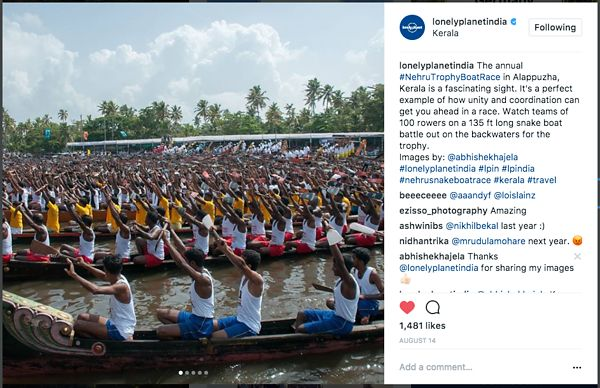 Lonely Planet official Instagram page; Nehru Thophy Boat Race; August 2017 photos