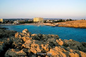 vathia gonia beach also known as sandy bay, ayia napa, cyprus.