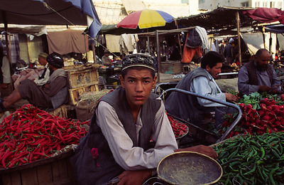 Vegetable seller in Mazar-i-Safriff market