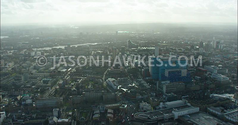 East London Aerial footage, Royal London Hospital.