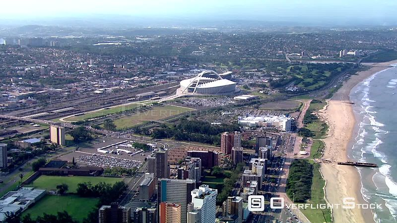 Aerial shot over Durban and The Moses Mabhida Stadium. Durban kwaZulu Natal South Africa