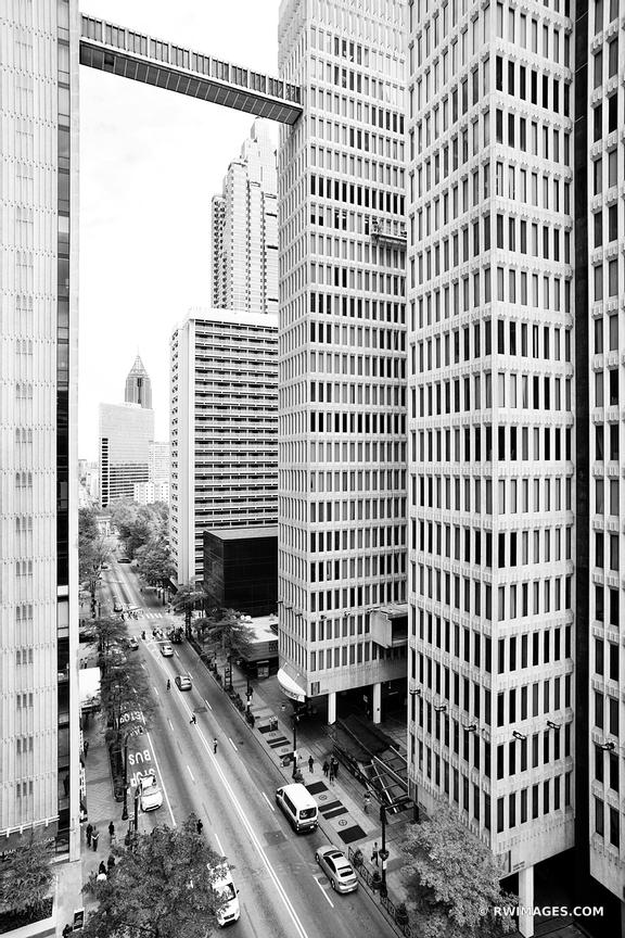 DOWNTOWN ATLANTA ARCHITECTURE BLACK AND WHITE VERTICAL