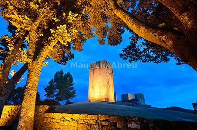 The medieval castle of Montalegre at sunset, dating back to the 13th century. Tras os Montes, Portugal