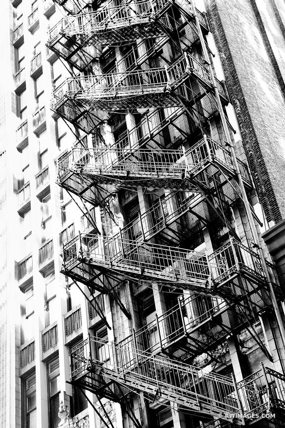 FIRE ESCAPE ADAMS STREET CHICAGO BLACK AND WHITE