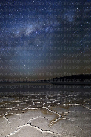 Milky Way Galactic Centre above salt formations on surface of Salar de Uyuni, Bolivia