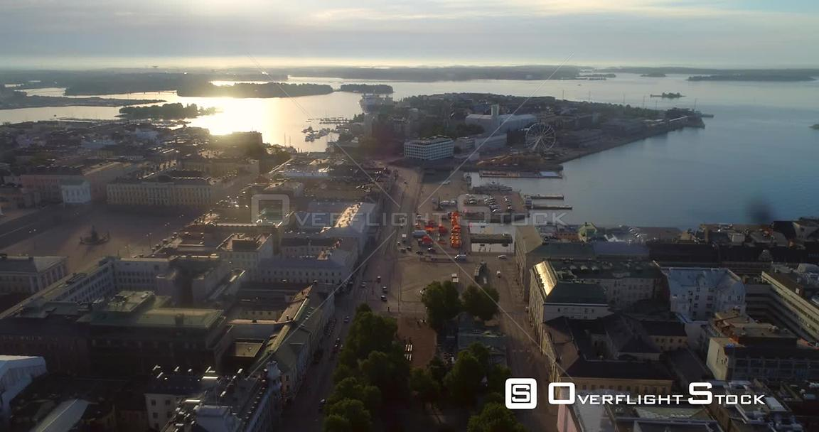 Helsinki Market Square, Aerial View of Kauppatori, the South Harbour and Katajanokka Bay, on a Sunny Summer Morning Dawn, in Helsingfors, Uusimaa, Finland