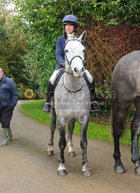 Charlotte Barnes arriving at the meet - The Cottesmore Hunt at Little Dalby 7/2