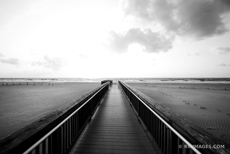 BEACH BOARDWALK ASSATEAGUE NATIONAL SEASHORE BLACK AND WHITE