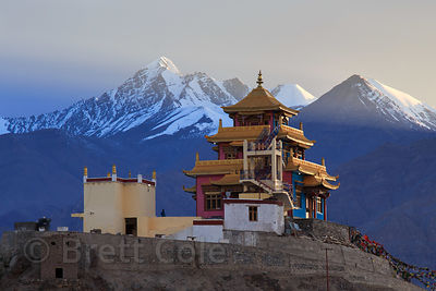 Unidentified gompa at Choglamsar at dusk, Leh, Ladakh, India