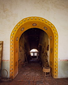 San Miguel Arcangel mission, painted arch, California, USA