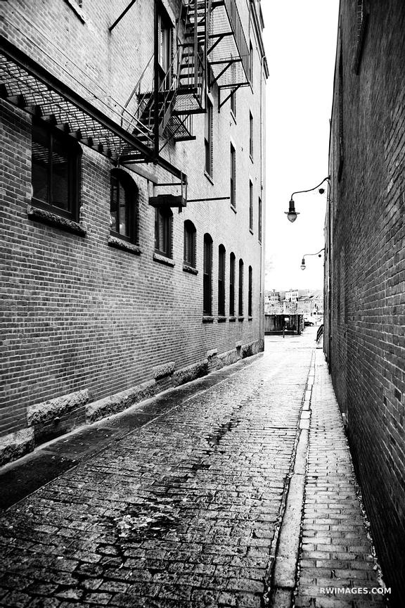 COBBLE STONE ALLEY HISTORIC BOSTON BLACK AND WHITE VERTICAL