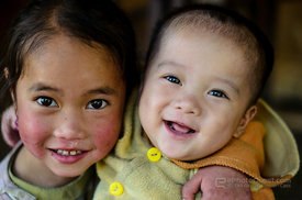 Young Hmong Girl and Baby