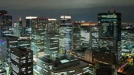 Bird's Eye: Business High-Rises Of Tokyo At Night